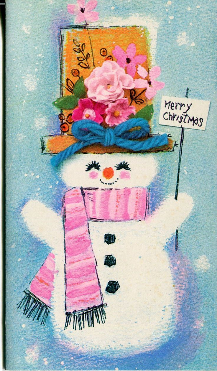 Unused Vintage Christmas Card Snowman with Pink Scarf and Flowered Hat | eBay