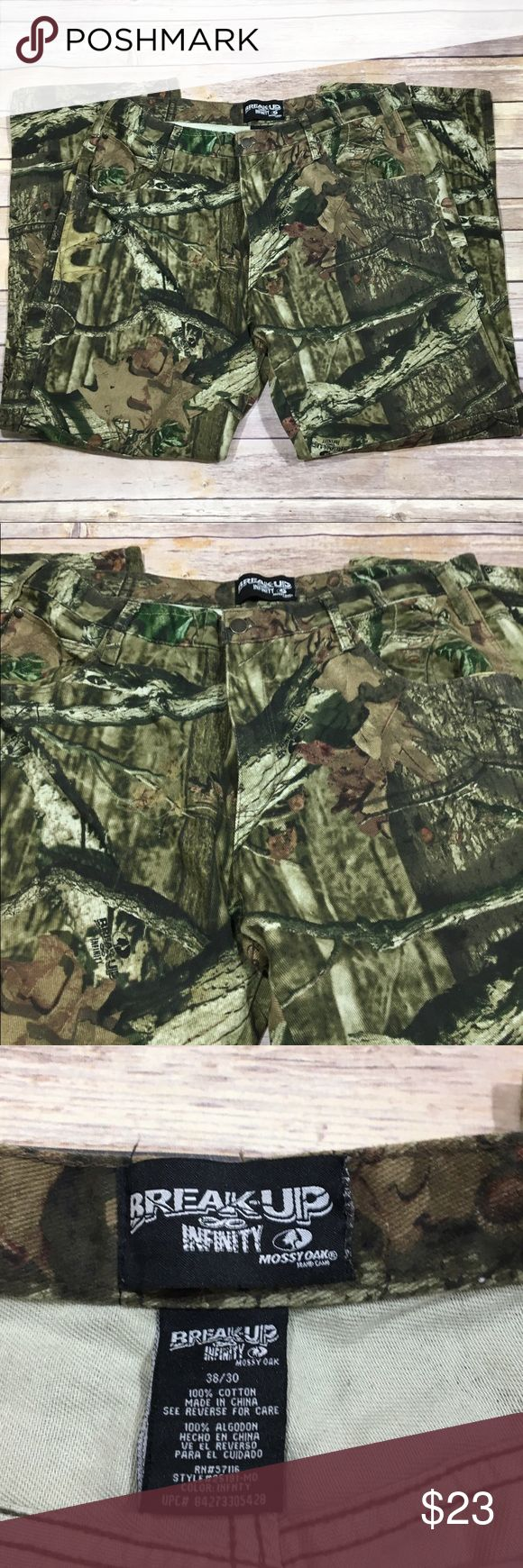 MOSSY OAK Breakup Infinity Mens Camo Pants, 38/30 MOSSY OAK Breakup Infinity Mens Camo Tree Stand Hunting Pants  Size: 38/30 100% Cotton RN# 51116 Style# 25191-MO Color: INFNTY UPC# 84273305428 Made in China Excellent Used Condition Mossy Oak Pants