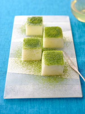 Japanese milk mochi sweets with matcha powder