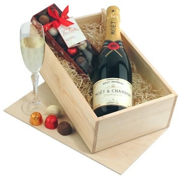 Moet Chandon Champagne with the finest Belgian chocolates... mmmm...
