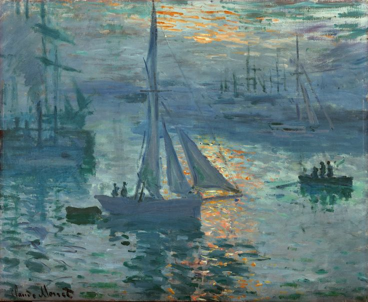 https://flic.kr/p/Q5UA2B | Claude Monet - Sunrise, Marine [1873] | In the muted palette of the emerging dawn, Claude Monet portrayed the industrial port of Le Havre on the northern coast of France. The brilliant orange of the rising sun glimmers amid the damp air and dances on the gentle rippling water, lighting up its iridescent blues and greens. Barely discernible through a cool haze, pack boats on the left billow smoke from their stacks. Painted during the spring of 1873 as the country…