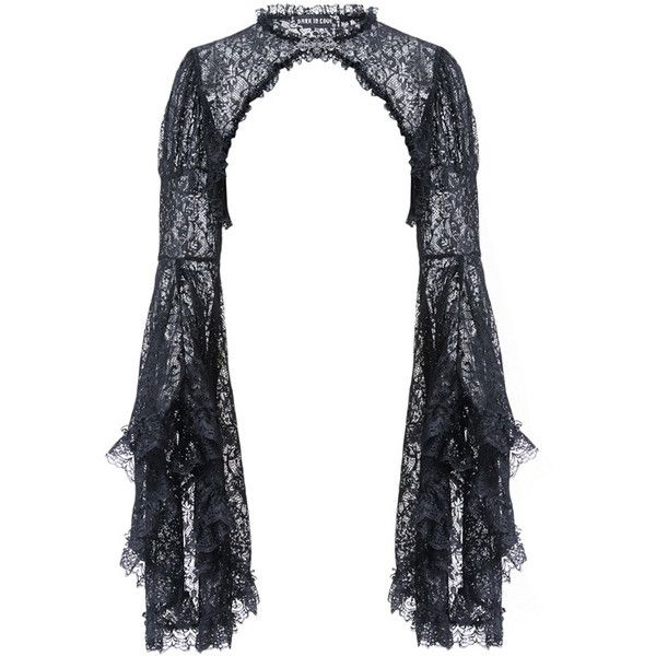 Rosie Black Lace Bolero by Dark in Love ($36) ❤ liked on Polyvore featuring outerwear, jackets, gothic bolero, long sleeve lace bolero, bolero jacket, long sleeve bolero and lace jackets