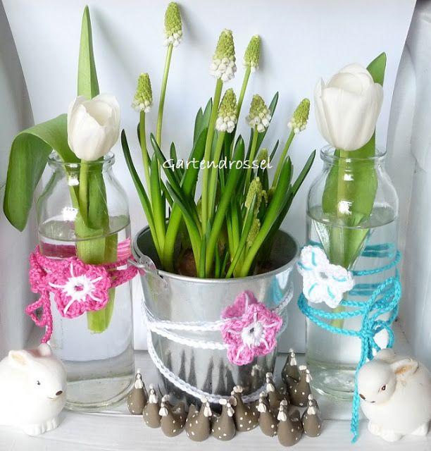 Kreatives aus dem Drosselgarten: Blumenbänder häkeln
