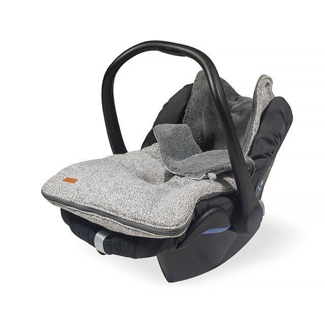 Fußsack für Babyschale stonewashed knit grey