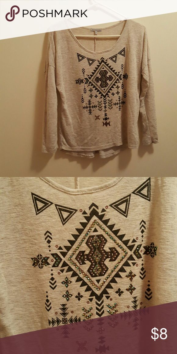 Aztec long sleeve top Cream colored top with bedazzled Aztec design. In very good condition Charlotte Russe Tops Tees - Long Sleeve