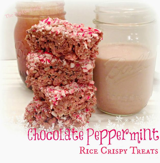 Chocolate Peppermint Rice Crispy Treats from The TipToe Fairy