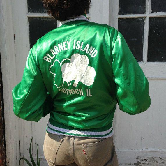 vintage green satin jacket