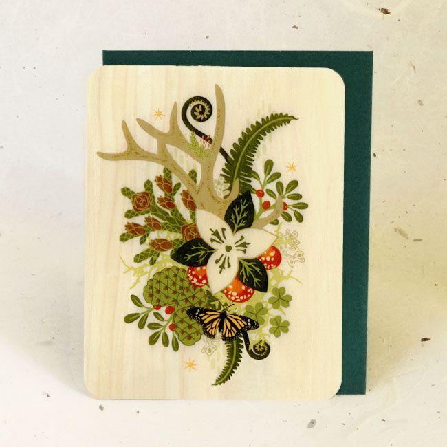 Cascadian Bouquet Wood Greeting Card Eco-Friendly Fine Art by Arrowyn Craban Lauer / LittleGoldFoxDesigns on Etsy
