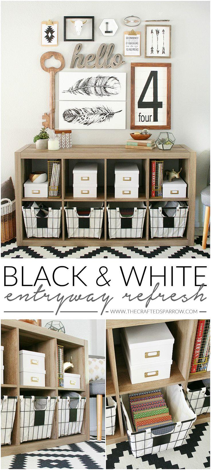 black white entryway refresh