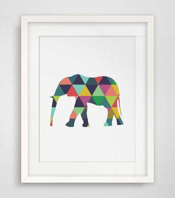 Elephant Print Elephant Art Elephant Wall by MelindaWoodDesigns