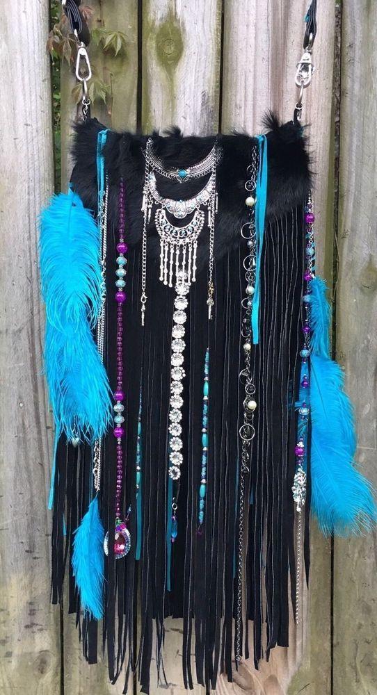 Handmade Turquoise & Black Suede Fringe Bag Upcycled Boho Hobo Fur Purse B.Joy | Clothing, Shoes & Accessories, Women's Handbags & Bags, Handbags & Purses | eBay!