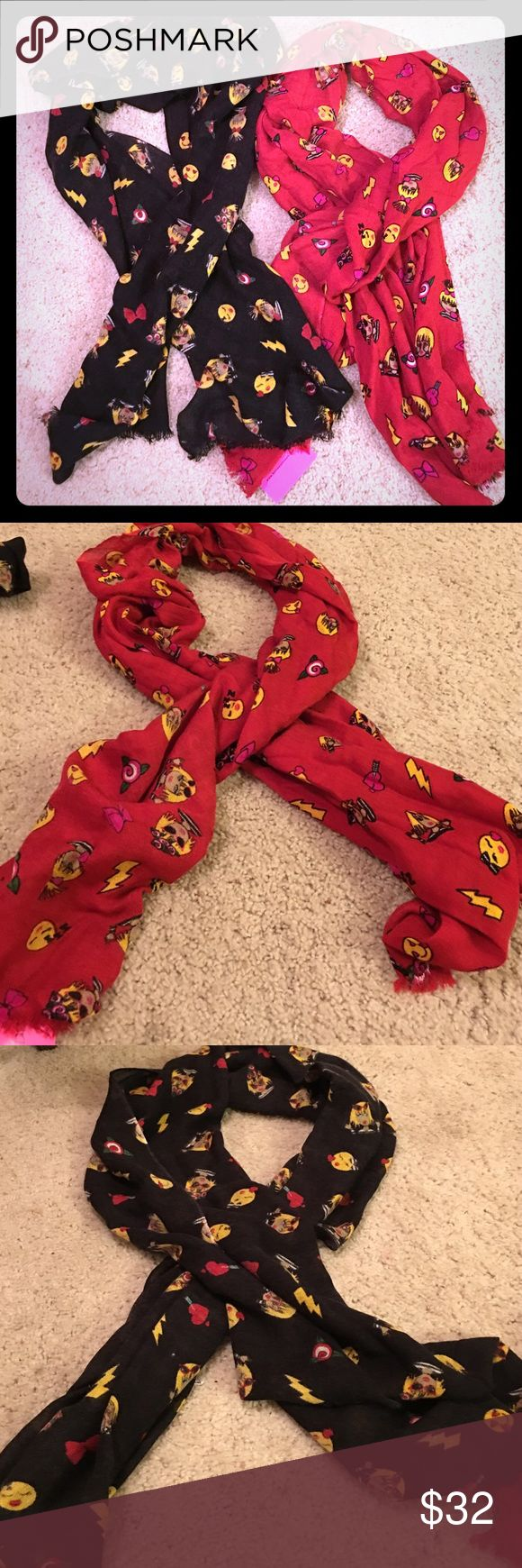 """NWT Betsey Johnson """"Betsey's Emoji Scarf"""" 2 Pc Set 2 Piece Set includes one BNWT Betsey Johnson """"Betsey's Emoji Scarf"""" in Red and one BNWOT """"Betsey's Emoji Scarf"""" in Black. Each is originally priced at $48 (total of $96) I'm asking $32 for both. Betsey Johnson Accessories Scarves & Wraps"""