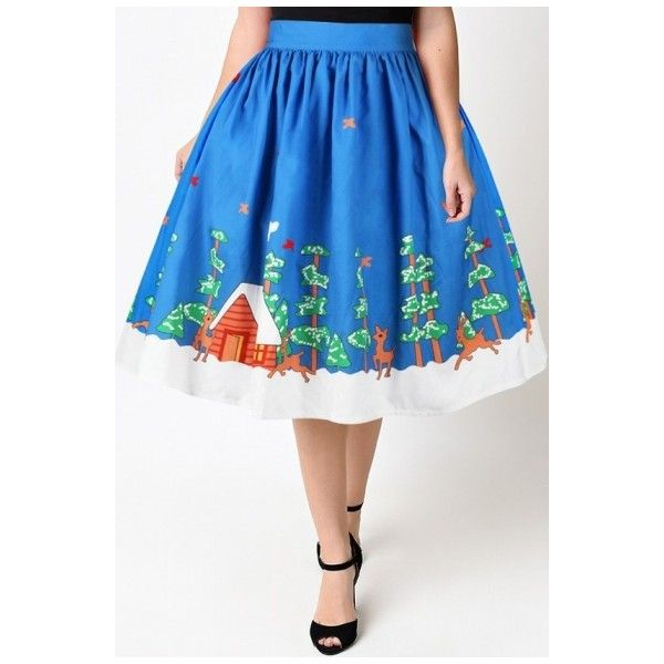 New Fashion High Waist Digital Christmas Pattern Midi Flared Skirt ($26) ❤ liked on Polyvore featuring skirts, midi skirt, midi skater skirt, midi circle skirt, skater skirt and circle skirts