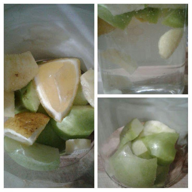 DETOKS  Yarim yesil elma Yarim limon  2 dilim taze zencefil dilimle. 1 litre suda 1 gece beklet.