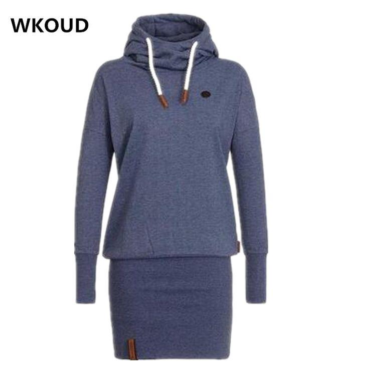 Wkoud 2017 nowa wiosna dress kobiety sukienki bluza z kapturem bluzy z kapturem damskie tunika bodycon swetry swetry dress l8390 | 32628829370_nl