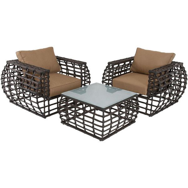 set of 3 aluminum outdoor chairs 1510 liked on polyvore featuring home outdoors patio furniture outdoor chairs nocolor aluminum patio furniture - Garden Furniture 3 Piece