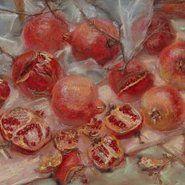 Janet Dawson Scribble rock pomegranates (diptych) 1999 (detail), AGNSW ©