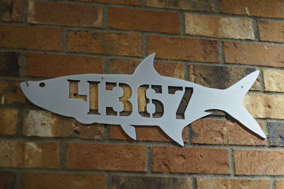 Fish house number / Tarpon house number / Address Sign / Modern House Number / Steel