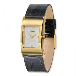 Moog Gold Plated Rectangle Domed Watch w/(CC-17G) Black Band - SalmaWatches.com $199.95