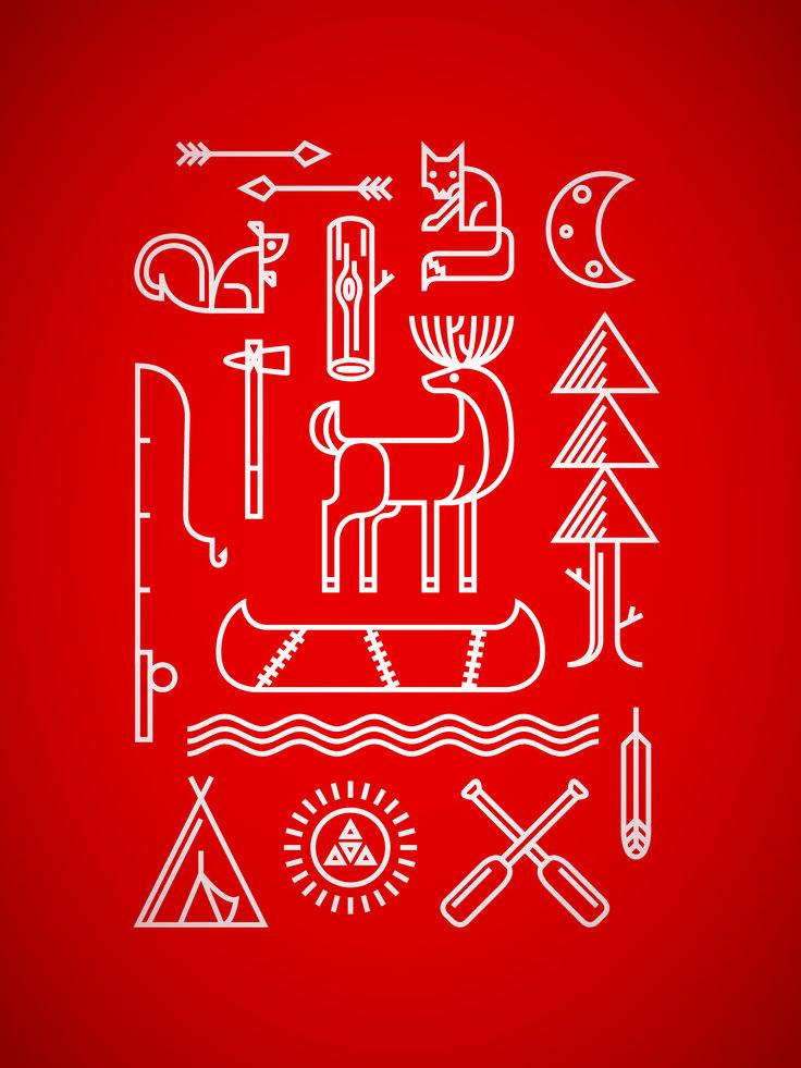 Spalding Design // Camp Piomingo Summer Camp poster (Red) // Camp Piomingo // Andrew Spalding, Illustrator