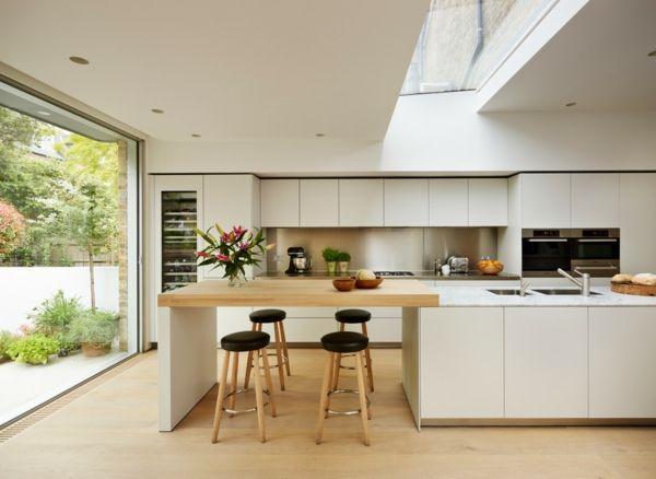 cuisine table encastrée | blancs de cuisine, une grande fenêtre, four encastrable, table ...