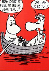 Moomin comic strip greeting card - red