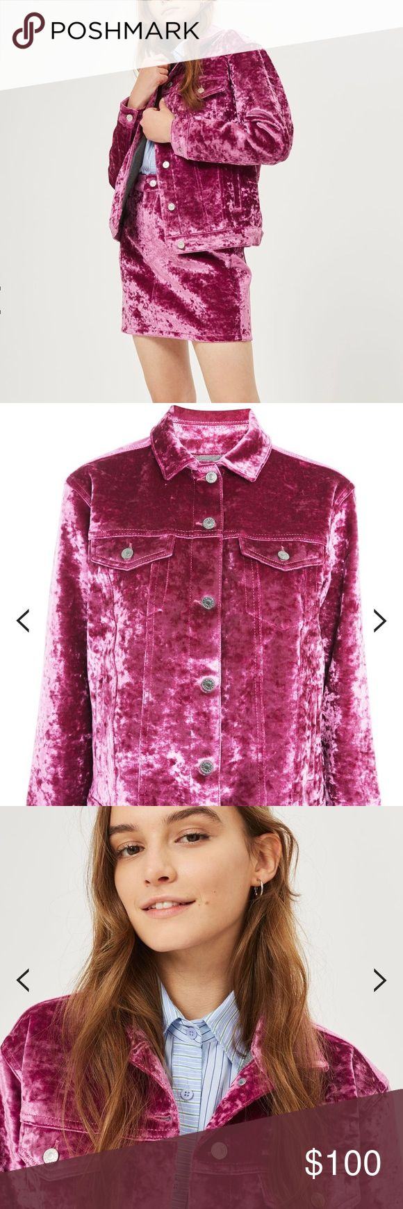Topshop Velvet Denim Jacket We're obsessed with this oversized jacket in pink velvet bonded onto denim. A statement jacket in every sense, wear with it's matching skirt, a buttoned up shirt and white leather mules and become a real style guru. 59% Cotton, 38% Polyester, 3% Elastane. Machine wash. Topshop Jackets & Coats