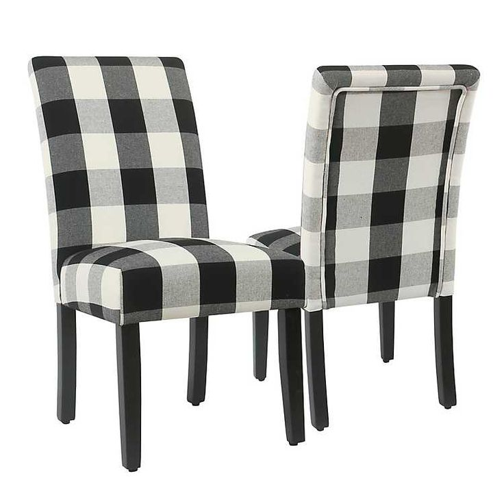 Black buffalo check dining chairs set of 2 in 2020