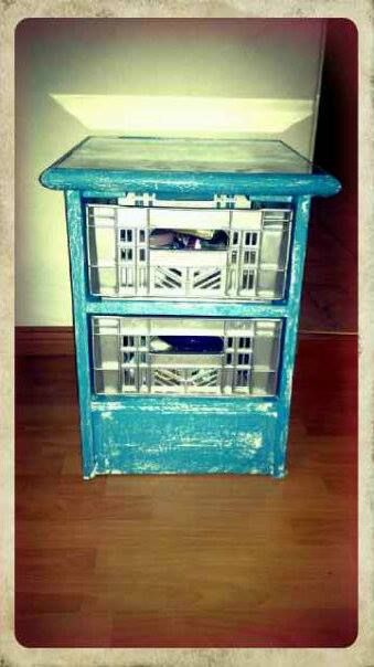 Made from leftover pallets and plastic crates :)