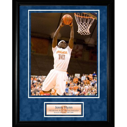 Jonny Flynn Syracuse Dunk 8x10 Framed Collage w Nameplate - Jonny Flynn was the heart and soul of the Orange in his time at Syracuse. He showcased his leadership skills and heart on a national stage in one of the most memorable games of the college basketball season. Flynn played 67 minutes in the Oranges six overtime victory against UCONN during the Big East Tournament. He also racked up 34 points 11 Assists and 6 Steals. Flynn was chosen sixth in the 2009 NBA Draft by the Minnesota…