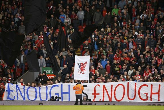 Liverpool fans stage protest against rising ticket prices during Hull game