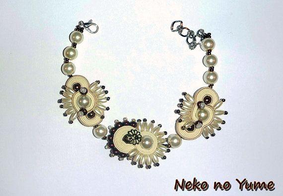 Handmade Soutache bracelet Pearl Fantasy by IzabelaCichocka