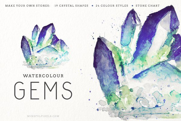 Watercolour Gem Creator Kit - Illustrations