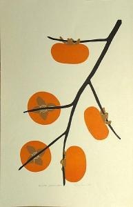 Henry Evans (American, 1918-1990) Persimmons; Pomegranate , 1973; 1974 Color woodcuts on wove paper, each signed in pencil, titled, and dated, Persimmons annotated 'Proof,' Pomegranate numbered 75/105,  approx. 10 x 16in