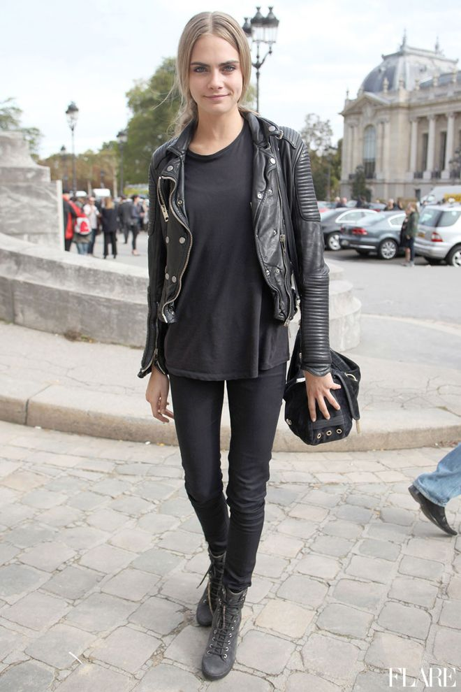 ★ //» Cara street black on black leather jacket bag boots jeans shirt style fashion tumblr