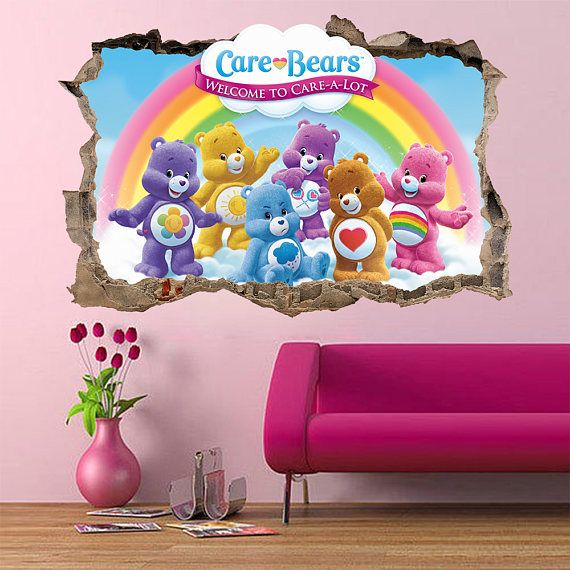 care bears 3d Wall Sticker Smashed Bedroom decor Vinyl Removable Art Decal Removable  Mural for Kids Baby cute care a lot huge large small