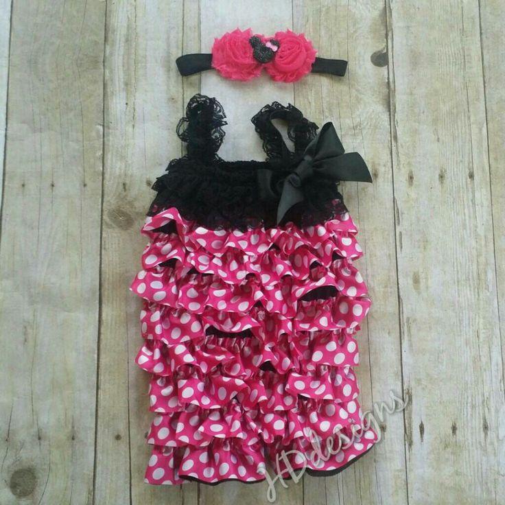 Black and pink polka dot romper