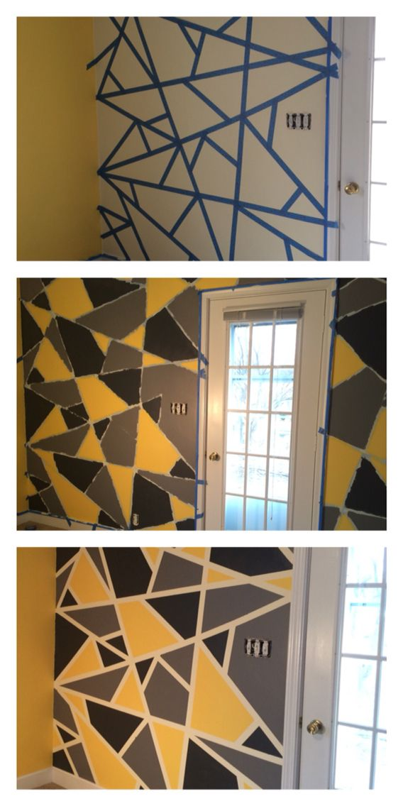 DIY mosaic wall!  1. Tape off the wall with delicate painting tape.  2. Paint over tape with base coat. In this case light yellow.  3. Once dry paint shapes desired colors. Apply multiple coats as necessary.  4. Peel back tape to reveal cream color!