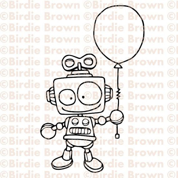 Digital stamp  Robot with a balloon by BirdieBrown on Etsy, $2.50