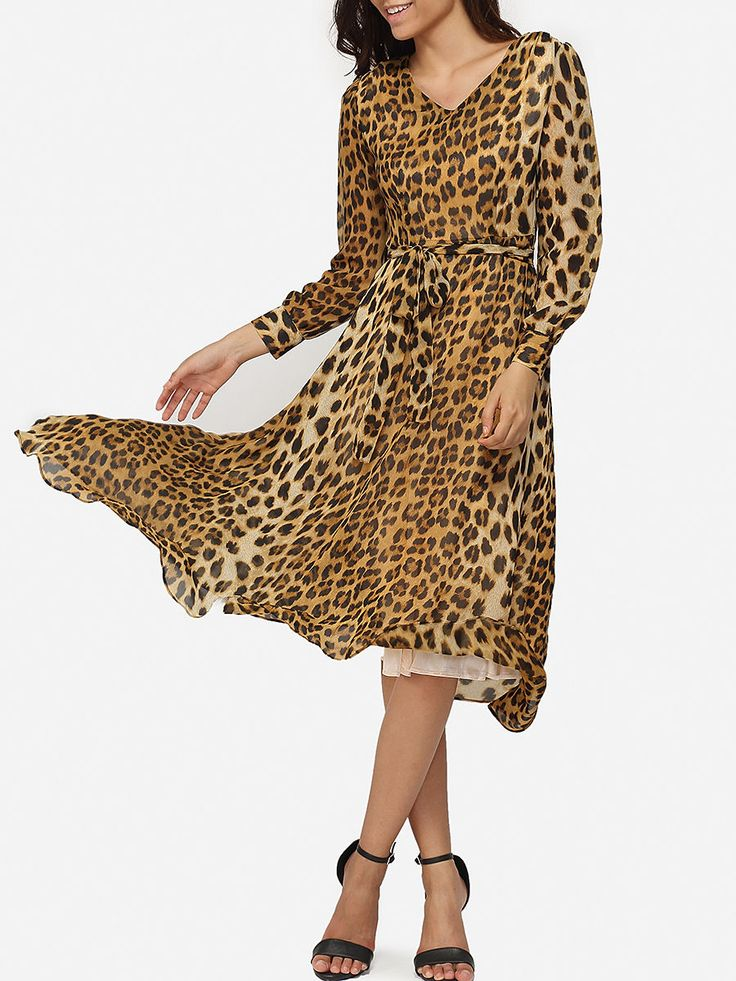 Bowknot V Neck Dacron Leopard Maxi-dress Only $33.95 USD More info...
