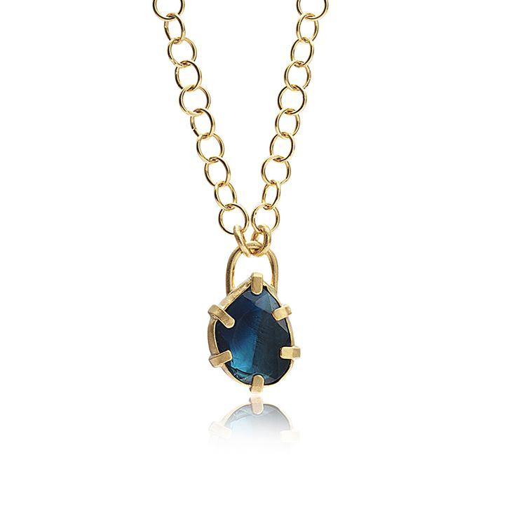 SIX-PRONG BLUE TOURMALINE PENDANT NECKLACE    24K gold with 1.65ct blue tourmaline