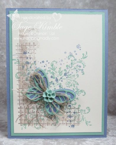 Handmade card all occasions card from Stamping Madly with background created with Timeless Textures stamp set