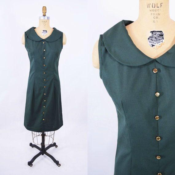 1960s shift dress vintage hunter green dress by StorylandVintage