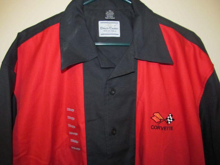 1968-1982 C3 Corvette Red and Black Retro Club Shirt - Adult 2XL NWT #DavidCarey #ButtonFront