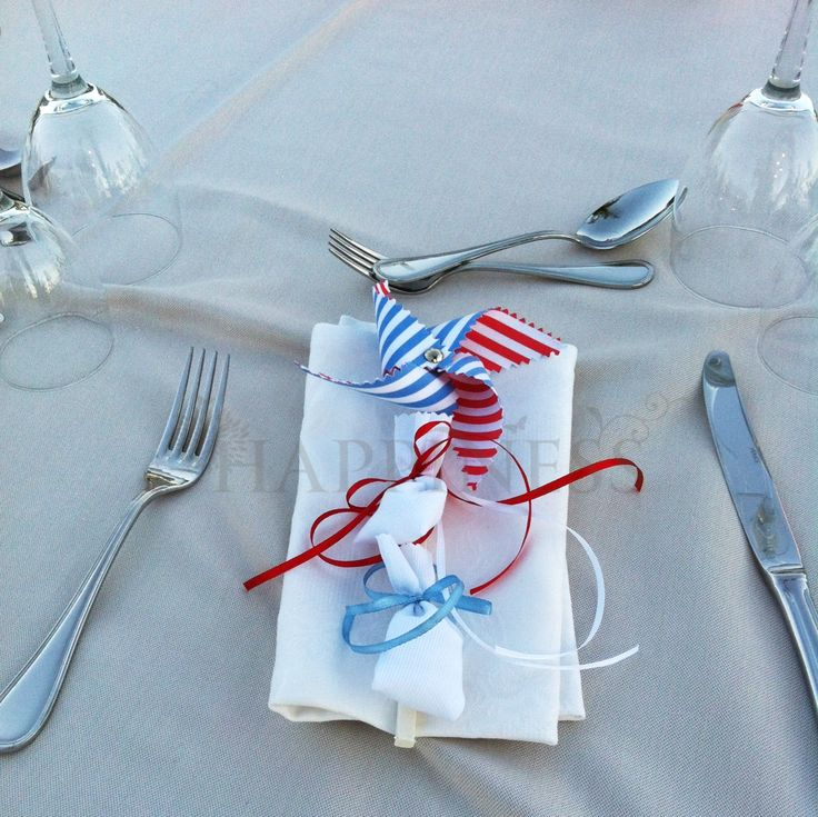 A truly decorated place setting, festive and complete with Pinwheel Bomboniera. Blue is for boys and red is for girls. With double koufeta... What could be better than a beautiful summer baptism with red white and blue striped pinwheels!  #bomboniera #baptism #baptismfavors #christening #redwhiteblue #twins #anemomiloi #myhappiness.gr   For more info: www.myhappiness.gr  2014. All Rights Reserved.
