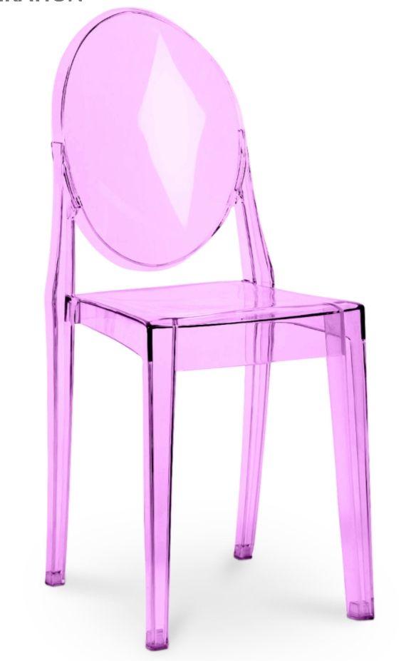 La chaise de salle à manger transparent violet en polycarbonate est inspirée du modele Victoria Ghost de Philippe Starck pourra aussi trouver sa place dans votre cuisine, votre salon, votre bureau ou toute autre pièce dans laquelle vous souhaiteriez l'installer.   100% Polycarbonate H 91 x L 38 x P 50 cm - Assise H 47 x L 35 x P 40 cm - Dossier H 45 x L 31 cm Poids 3.7Kg