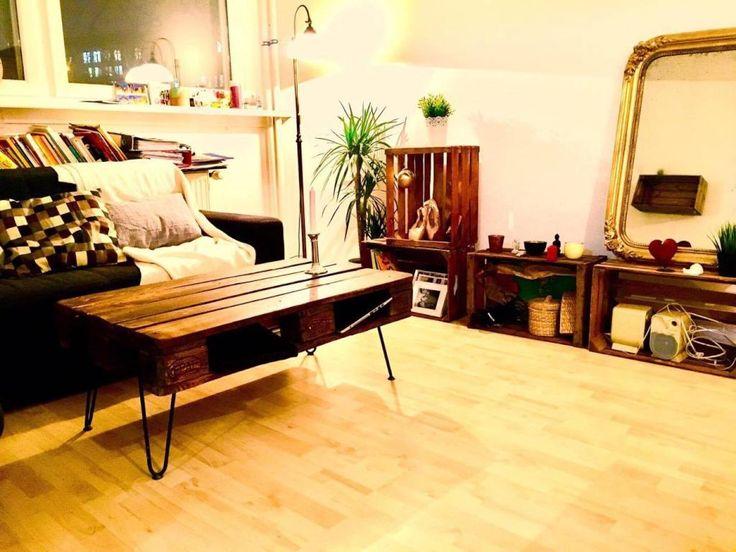 DIY Paletten Couchtisch Und Regale Aus Holzkisten Als Schne Einrichtungsidee