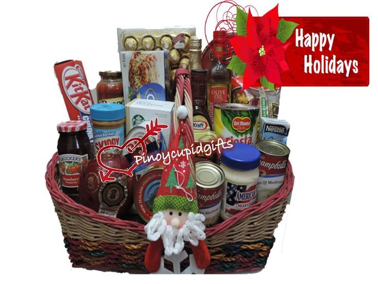 Xmas Basket19 ($155.99 USD) Campbell Creme of Mushroom x2  American Mayonnaise 444ml Spam 340g x2 Hereford Ham 454g  Marcapina Quezo de bola 740g. Skippy Peanut Butter 462g. Smuckers Strawberry Jam 340g DAK Ham 454g. Kraft Barbecue Sauce 465g. La Espanola Olive Oil 500ml. Red Grape Juice 750ml (Non-Alcoholic) San Remo Macaronni 500ml. Copenhagen Danish Cookies454g. 24 pcs Ferrero Prego Italian Sauce 666g. Kitkat Chunky 42g x 6. Castelli Lasagna 500g Starbucks Hot Cocoa.  Nestle Creme 2x…