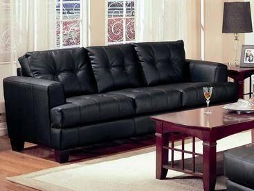 Coaster Samuel Contemporary Leather Sofa In Black