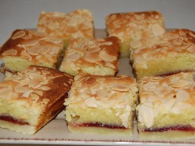 A lovely pastry base and light sponge with raspberry jam. Bakewell Jam Slice